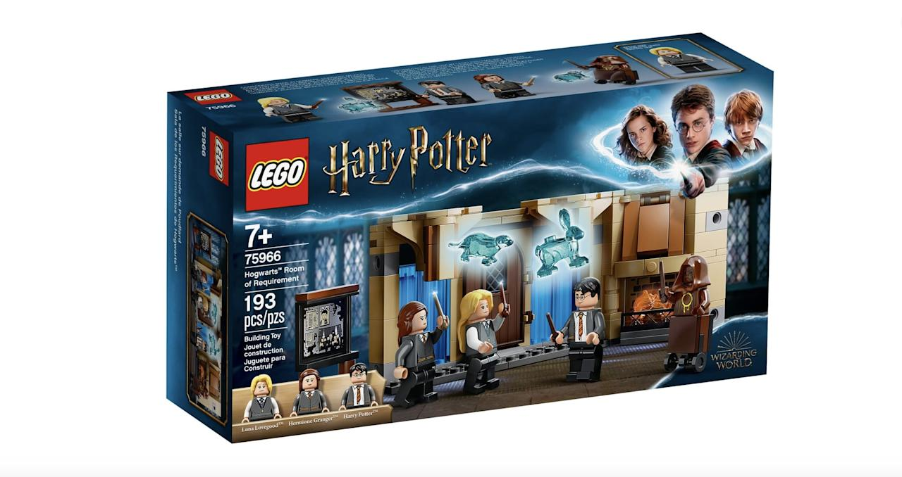 """<p>The <a href=""""https://www.popsugar.com/buy/Lego-Harry-Potter-Hogwarts-Room-Requirement-Set-568892?p_name=Lego%20Harry%20Potter%20Hogwarts%20Room%20of%20Requirement%20Set&retailer=lego.com&pid=568892&price=20&evar1=moms%3Aus&evar9=45685311&evar98=https%3A%2F%2Fwww.popsugar.com%2Ffamily%2Fphoto-gallery%2F45685311%2Fimage%2F47461999%2FLego-Harry-Potter-Hogwarts-Room-Requirement-Set&list1=gifts%2Ctoys%2Cgifts%20for%20kids%2Ckid%20shopping%2Cbest%20of%202020&prop13=mobile&pdata=1"""" rel=""""nofollow"""" data-shoppable-link=""""1"""" target=""""_blank"""" class=""""ga-track"""" data-ga-category=""""Related"""" data-ga-label=""""https://www.lego.com/en-us/product/hogwarts-room-of-requirement-75966"""" data-ga-action=""""In-Line Links"""">Lego Harry Potter Hogwarts Room of Requirement Set</a> ($20, available on July 1) has 193 pieces and is best suited for kids ages 7 and up.</p>"""