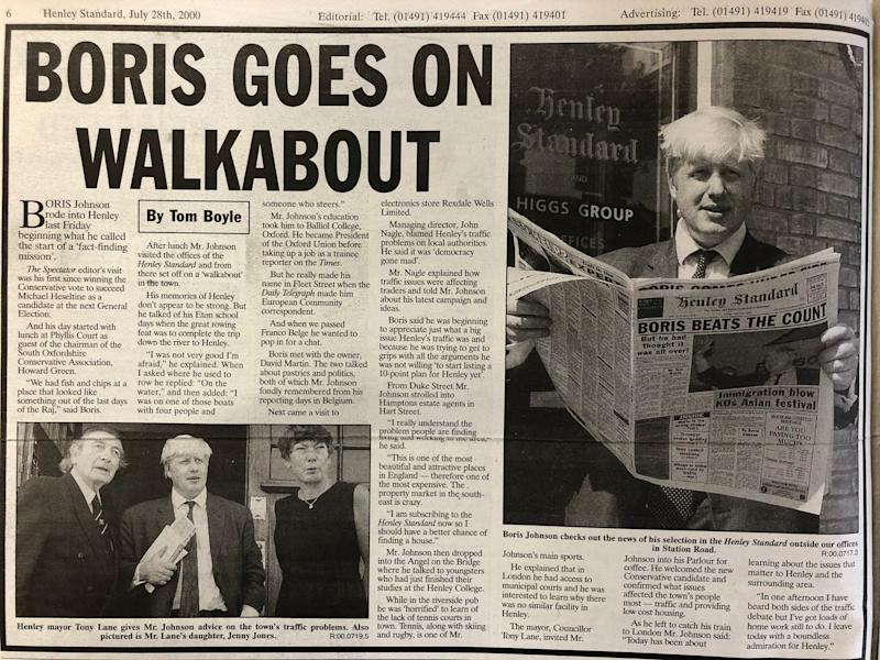 A Henley Standard report of Boris Johnson acquainting himself with his future constituency (Henley Standard/Henley Library)