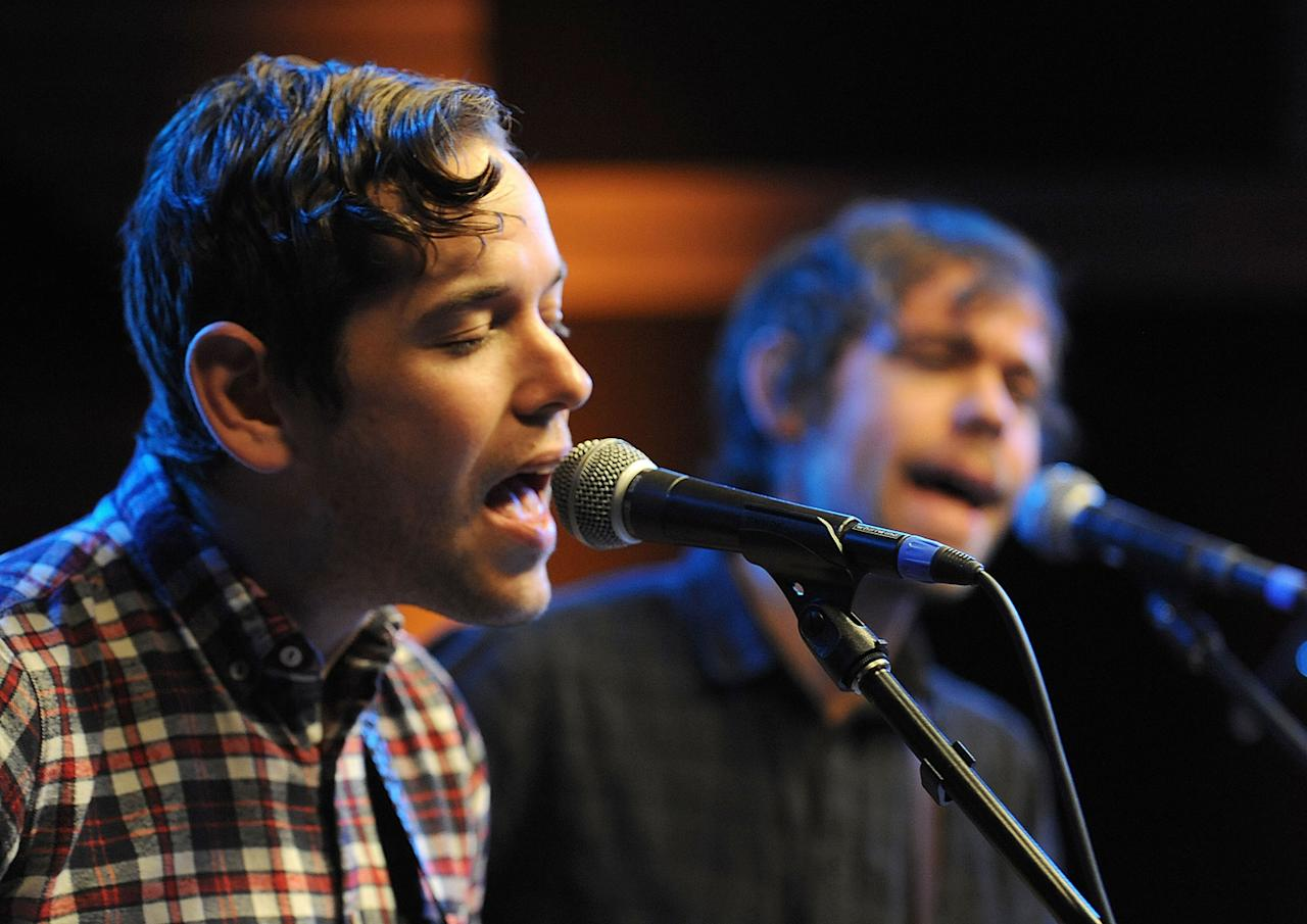 """Musicians Sam Cohen and Aaron Dessner perform during the Yahoo! Music Presents """"The Bridge Session"""" sponsored by Headcount at TRI Studios on March 24, 2012 in San Rafael, California."""