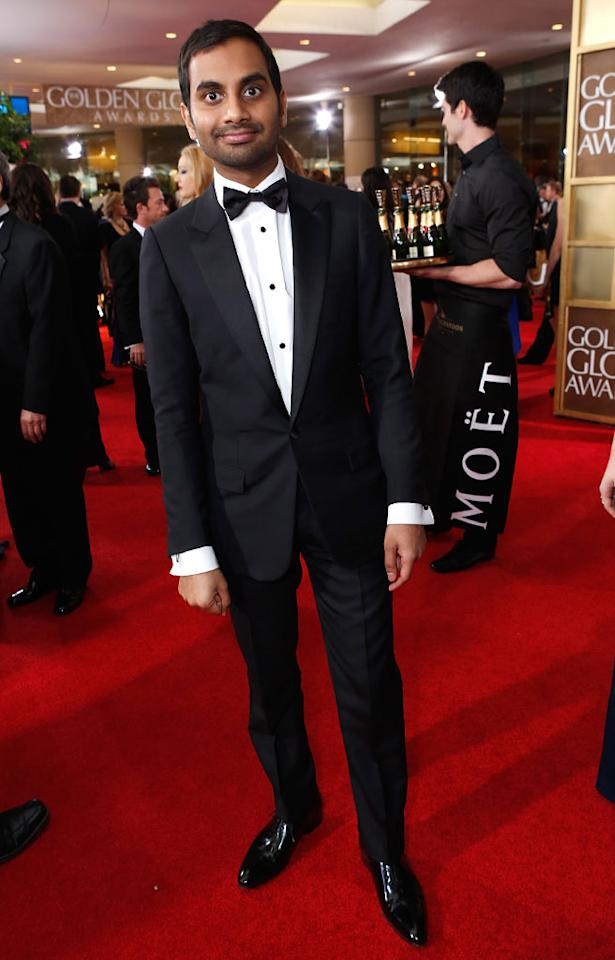 Aziz Ansari arrives at the 70th Annual Golden Globe Awards at the Beverly Hilton in Beverly Hills, CA on January 13, 2013.