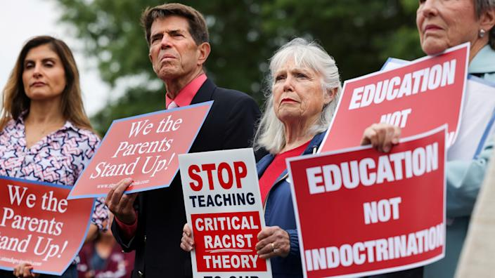 Opponents of the academic doctrine known as Critical Race Theory protest outside the Loudoun County School Board headquarters in Ashburn, Va., on June 22, 2021.