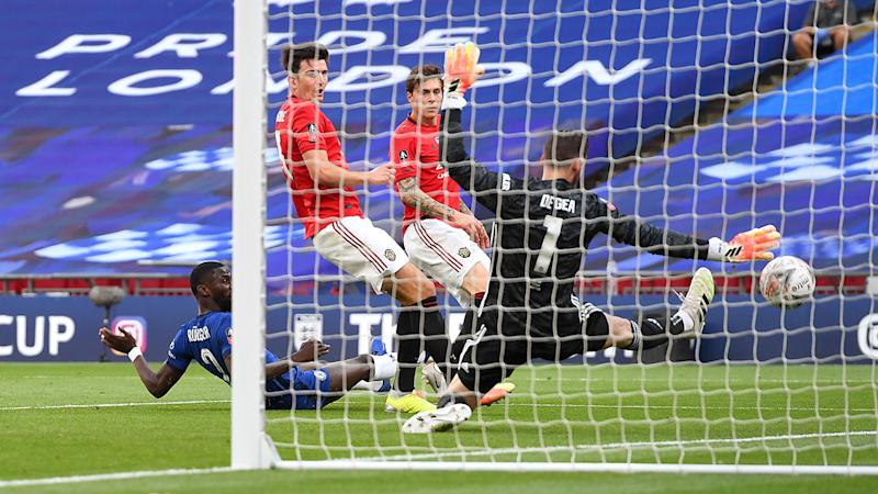Seen here, Harry Maguire scored an own goal in the 3-1 defeat to Chelsea.