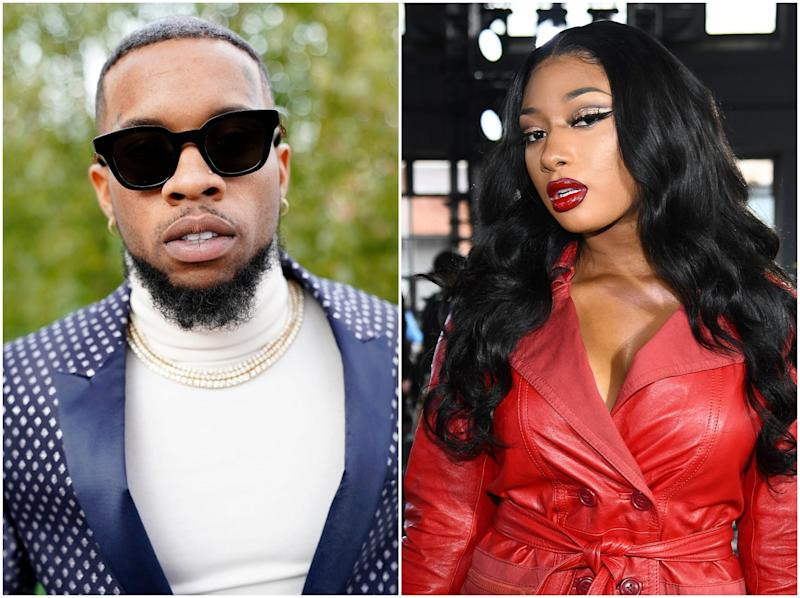 Lanez (left) has been accused of using the shooting to promote his album (Getty Images)