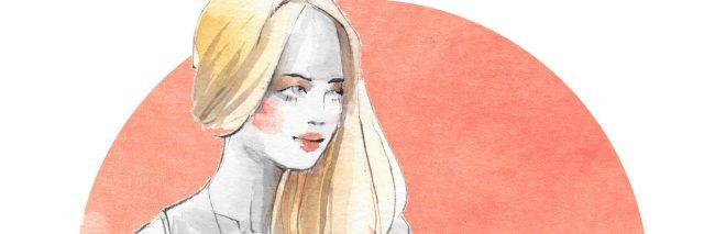 An illustration of a blonde woman