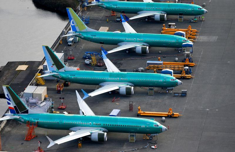 FILE PHOTO: An aerial photo shows Boeing 737 MAX airplanes parked at the Boeing Factory in Renton