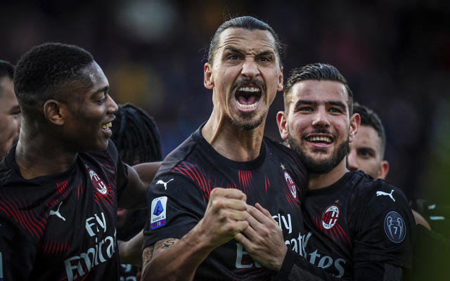 "<a class=""link rapid-noclick-resp"" href=""/soccer/players/374294/"" data-ylk=""slk:Zlatan Ibrahimovic"">Zlatan Ibrahimovic</a> found the back of the net Saturday for the first time since returning to AC Milan. (Spada(/LaPresse via AP)"