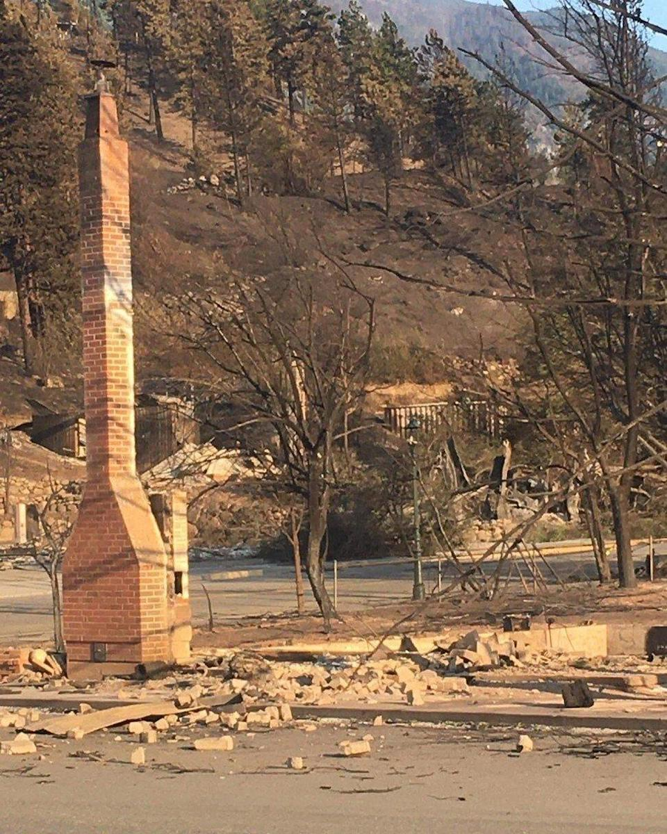 This photo shared by Lorna Fandrich on the Facebook page of the Lytton Chinese History Museum on Friday, shows that the museum, in the background across the road, has been reduced to ashes and rubble. Photo: Lytton Chinese History Museum