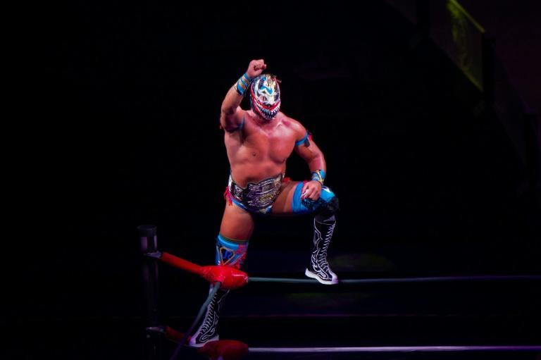 A masked wrestler is seen in action during an event at the Arena Mexico in Mexico City on May 28, 2021