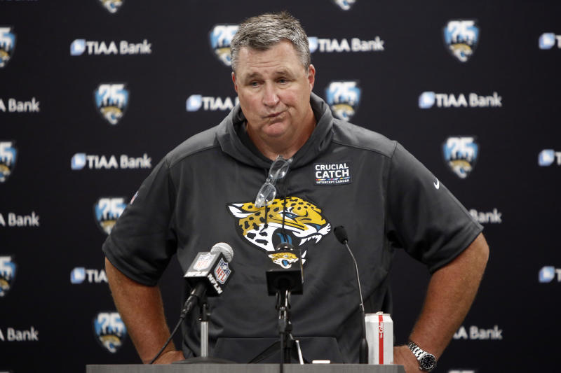 Jaguars head coach Doug Marrone expressed frustration at being the team's lone voice on Wednesday. (AP)