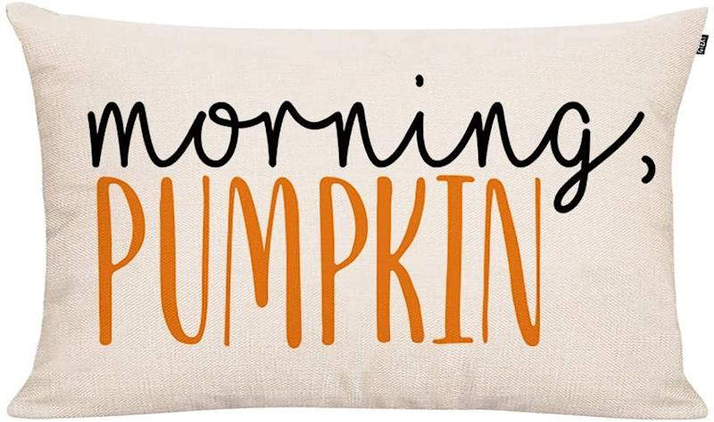 Throw Pillow Cover Autumn Decor Watercolor Pumpkins Morning Pumpkin Pillow Cover. Image via Amazon.