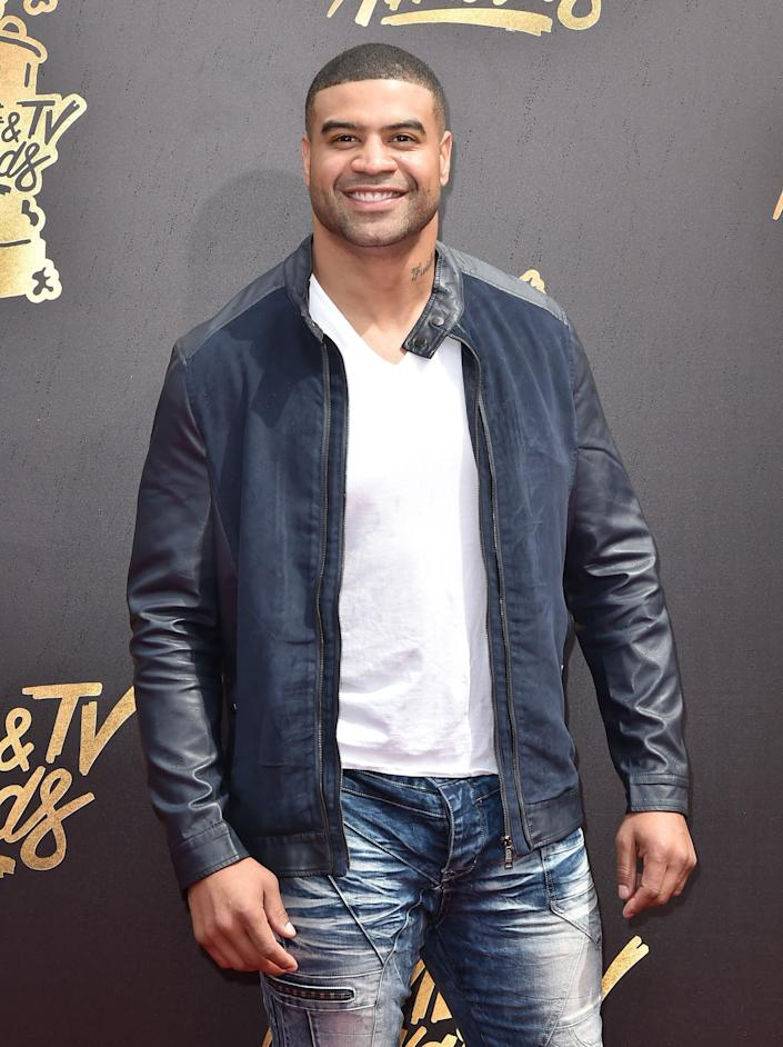 Former NFL player Shawne Merriman attends the 2017 MTV Movie And TV Awards at The Shrine Auditorium on May 7, 2017 in Los Angeles, California.