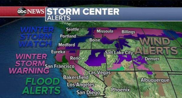 PHOTO: There are alerts in place across the western U.S. on Sunday. (ABC News)