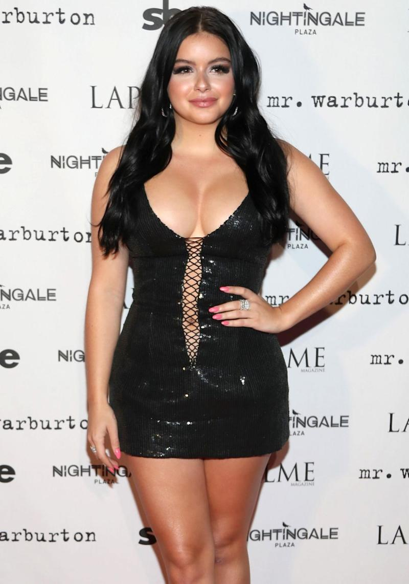 Stepping out in Los Angeles, the 19-year-old actress put on quite a busty display in a revealing black dress at a LaPalme magazine event. Source: Getty