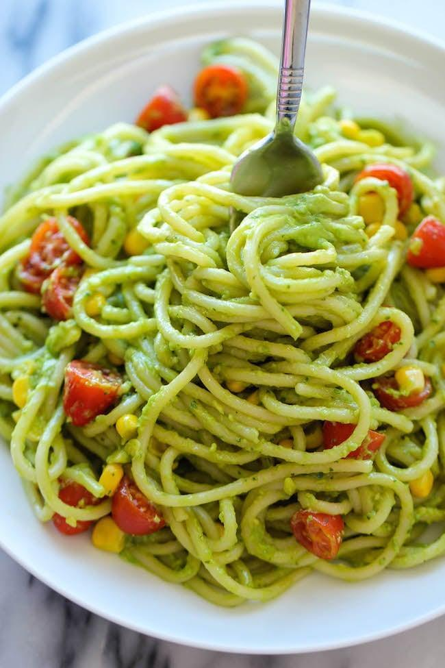"<p><strong>Get the recipe:</strong> <a href=""http://damndelicious.net/2014/06/20/avocado-pasta/"" class=""link rapid-noclick-resp"" rel=""nofollow noopener"" target=""_blank"" data-ylk=""slk:basil and garlic avocado pasta"">basil and garlic avocado pasta</a></p>"