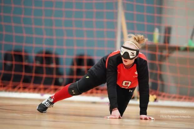 Brieann Baldock in action at the Vancouver Goalball Grand Slam.  (Manto Artworks - image credit)
