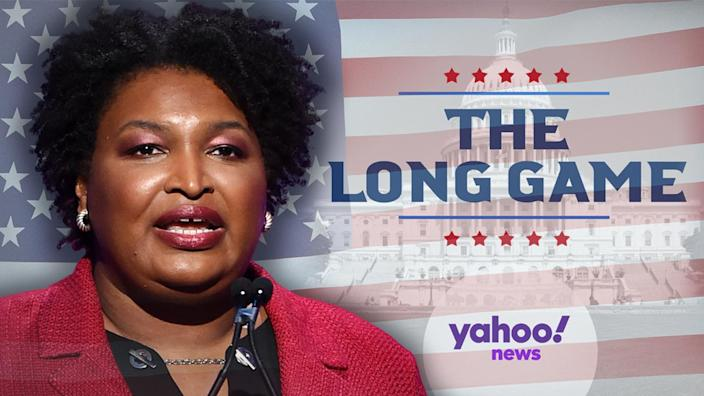Stacey Abrams (Photo illustration: Yahoo News; photos: Alberto E. Rodriguez/Getty Images for The Hollywood Reporter; AP)