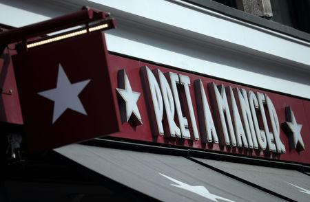 Signage is seen outside of a Pret a Manger in London, Britain, May 22, 2019. REUTERS/Hannah McKay