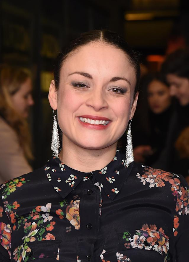 """Rochenda Sandall attends the World Premiere of """"Sulphur And White"""" at The Curzon Mayfair on February 27, 2020 in London, England. (Photo by David M. Benett/Dave Benett/WireImage)"""