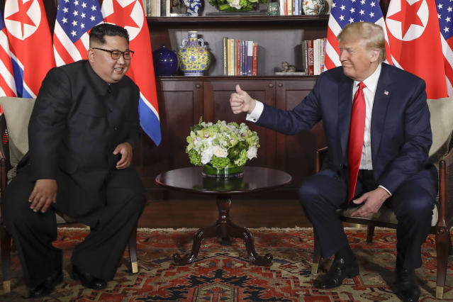 <p>U. S. Donald Trump gives North Korea leader Kim Jong Un a thumbs up at their meeting at the Capella resort on Sentosa Island Tuesday, June 12, 2018 in Singapore. (AP Photo/Evan Vucci) </p>