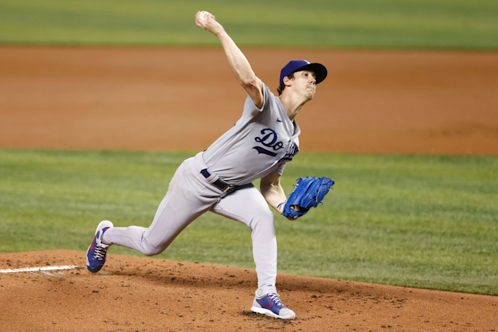 Dodgers pitcher Walker Buehler delivers during a 6-5 loss to the Miami Marlins on Monday.