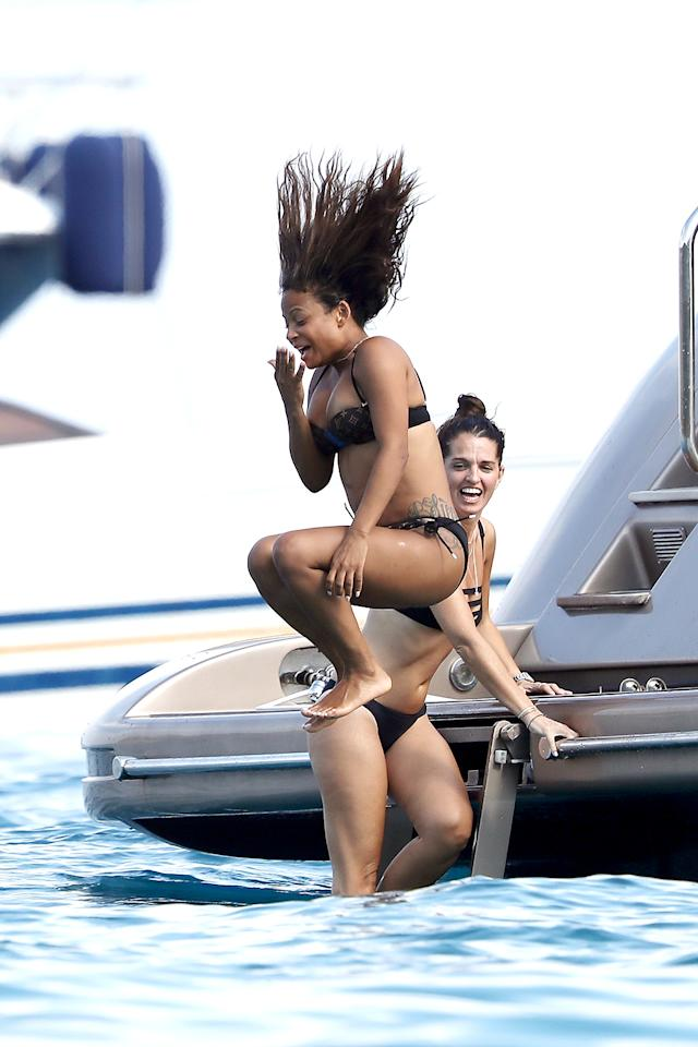 "<p>In <a rel=""nofollow"" href=""https://www.yahoo.com/celebrity/top-5-celebrity-vacation-hot-spots-135043210.html"">celebrity favorite Saint-Tropez</a>, Milian made a splash enjoying a day on a yacht. Her day wasn't all about the water, though, as she was also snapped cozying up to Matt Pokora (aka M. Pokora), a coach on the French edition of <i>The Voice</i>. (Photo: BACKGRID) </p>"