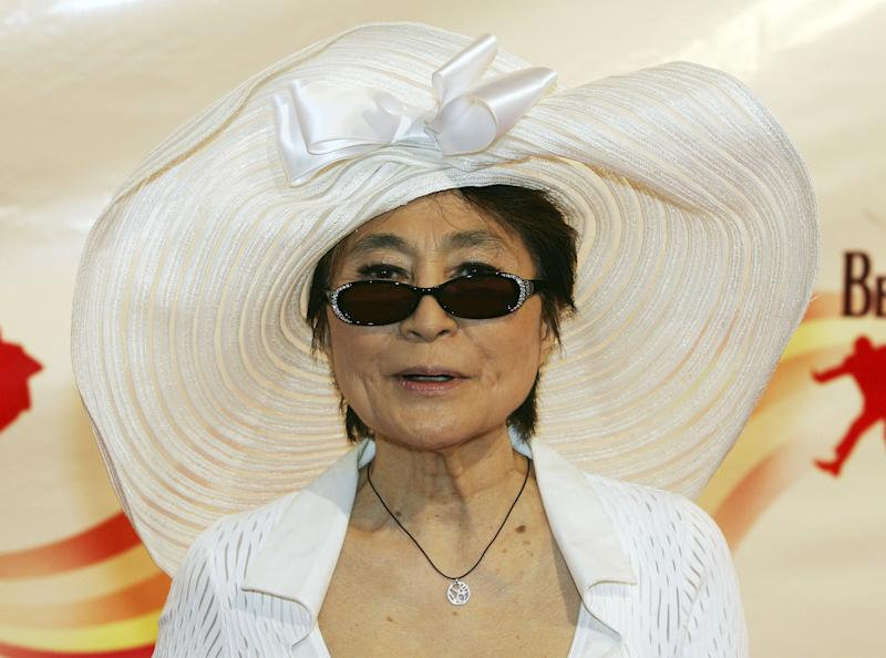 """LAS VEGAS - JUNE 30: Yoko Ono, widow of The Beatles' John Lennon, arrives at the gala premiere of """"The Beatles LOVE by Cirque du Soleil"""" at The Mirage Hotel & Casino June 30, 2006 in Las Vegas, Nevada. The show is a joint artistic venture between The Beatles' company, Apple Corps Ltd., and Cirque du Soleil. (Photo by Ethan Miller/Getty Images)"""