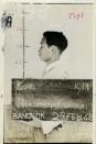Lee Hak-rae is seen in this mug shot for his trial record after he was detained in 1946