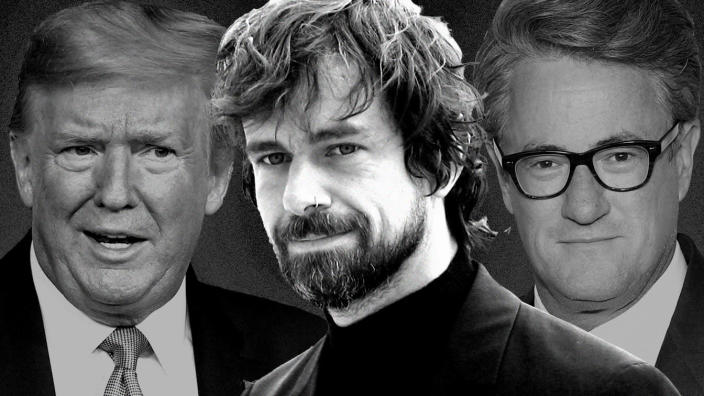 Donald Trump, Jack Dorsey and Joe Scarborogh. (Photo illustration: Yahoo News; photos: AP (2), Bryan Bedder/Getty Images)