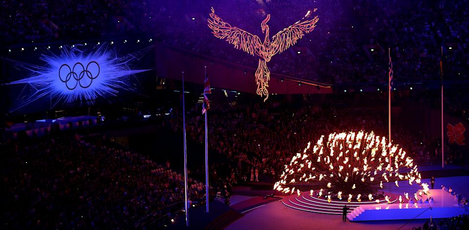 LONDON, ENGLAND - AUGUST 12: The Olympic cauldron is extinguished during the Closing Ceremony on Day 16 of the London 2012 Olympic Games at Olympic Stadium on August 12, 2012 in London, England. (Photo by Clive Brunskill/Getty Images)