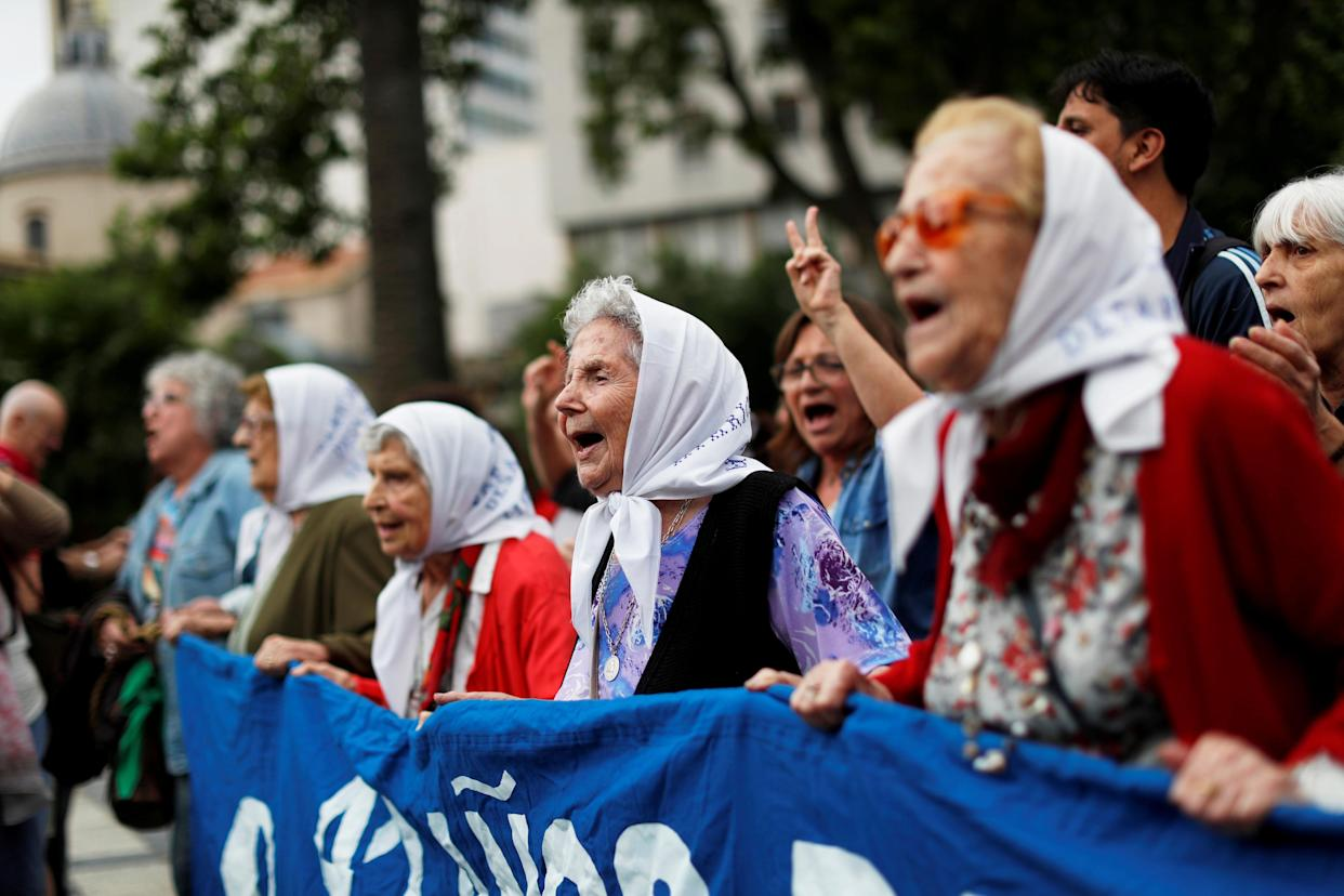 Members of the human rights organization Madres the Plaza de Mayo (Mothers of Plaza de Mayo) march together ahead of the G-20 summit in Buenos Aires, Argentina, Thursday. (Photo: Carlos Garcia Rawlins/Reuters)