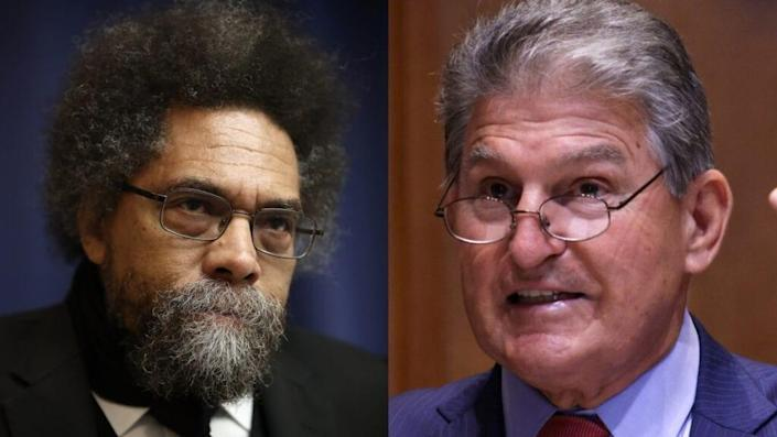 """Dr. Cornel West (left) told CNN West Virginia Senator Joe Manchin (right) is """"gonna have to get off his symbolic crackpipe"""" and help do away with the filibuster. (Photo by Win McNamee/Getty Images)"""