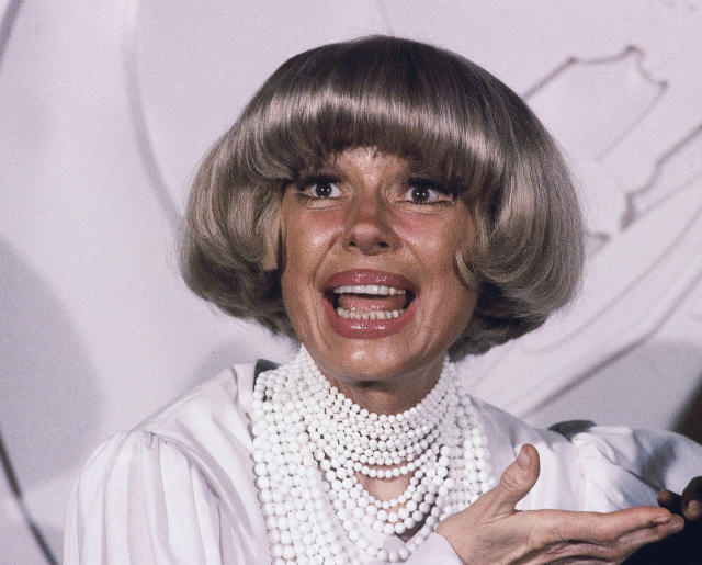 FILE - This Feb. 24, 1982 file photo shows actress Carol Channing at the Grammy Awards in Los Angeles. Channing, whose career spanned decades on Broadway and on television has died at age 97. Publicist B. Harlan Boll says Channing died of natural causes early Tuesday, Jan. 15, 2019 in Rancho Mirage, Calif.(AP Photo/Doug Pizac, File)