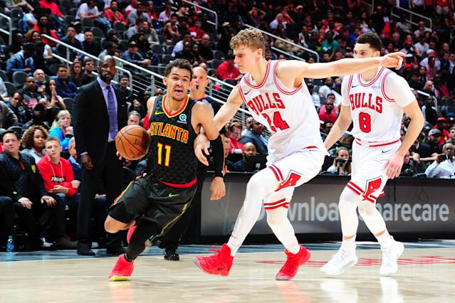 ATLANTA, GA - MARCH 1: Trae Young #11 of the Atlanta Hawks drives to the basket against the Chicago Bulls on March 1, 2019 at State Farm Arena in Atlanta, Georgia. (Photo by Scott Cunningham/NBAE via Getty Images)