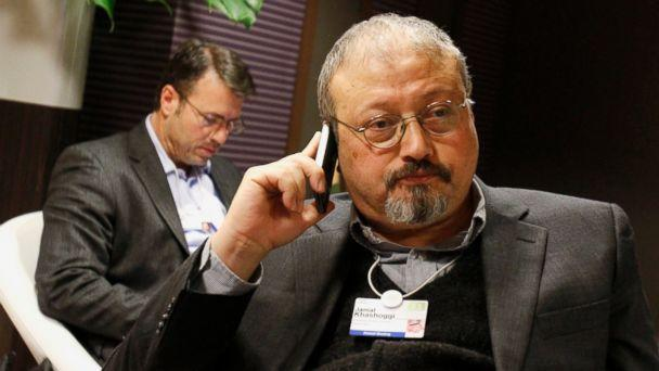 PHOTO: In this Jan. 29, 2011 file photo, Saudi journalist Jamal Khashoggi speaks on his cellphone at the World Economic Forum in Davos, Switzerland. (AP)