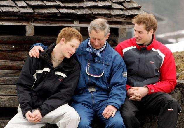 The boys with their father Prince Charles during a 2005 ski trip in Switzerland. (Photo: Pascal Le Segretain via Getty Images)