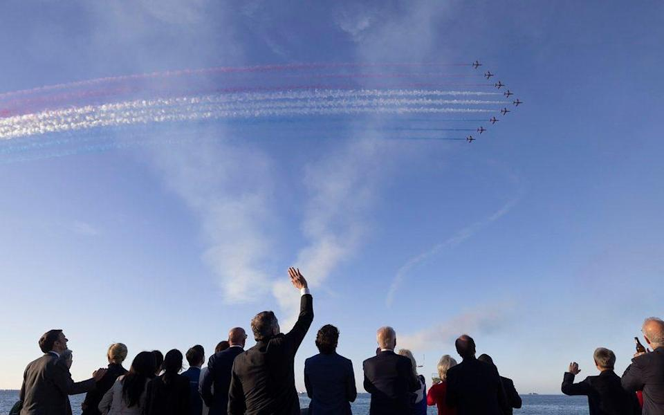 Leaders of the G7 watch the Red Arrows fly past on Saturday evening - Simon Dawson / No10 Downing Stre