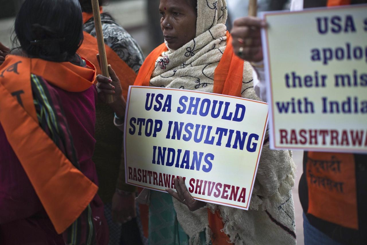 Supporters of Rashtrawadi Shiv Sena, a Hindu hardline group, carry placards during a protest near the U.S. embassy in New Delhi