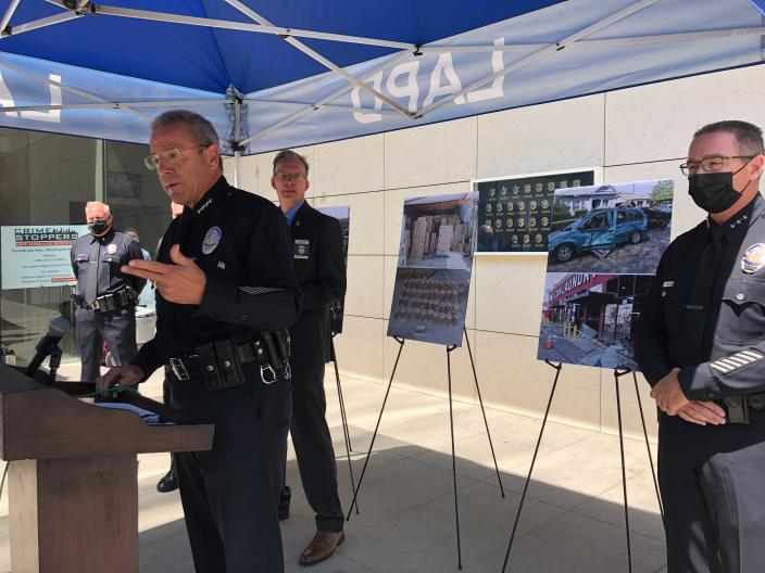 Los Angeles Police Chief Michel Moore talks during a news conference in Los Angeles on Monday, July 19, 2021. Moore said bomb technicians overloaded a detonation truck with homemade fireworks last month, causing a catastrophic explosion that injured 17 people. (AP Photo/Stefanie Dazio)