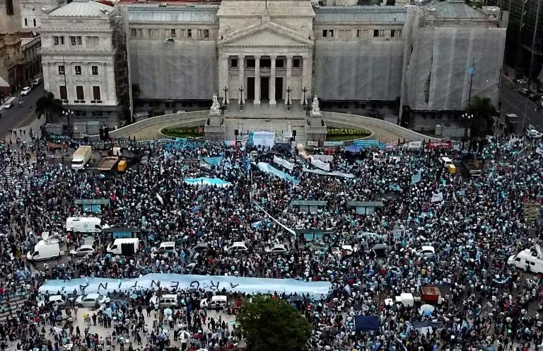 Aerial view of anti-abortion activists demonstrating against a bill to legalise abortion outside the Argentinian Congress on November 28, 2020