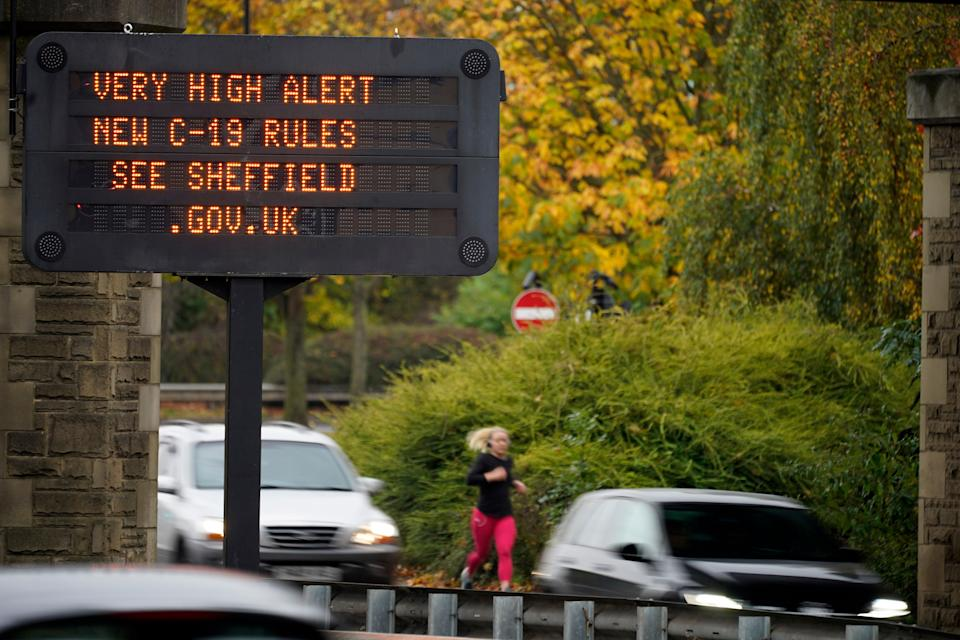An electronic sign warns the people of Sheffield of the 'Very High