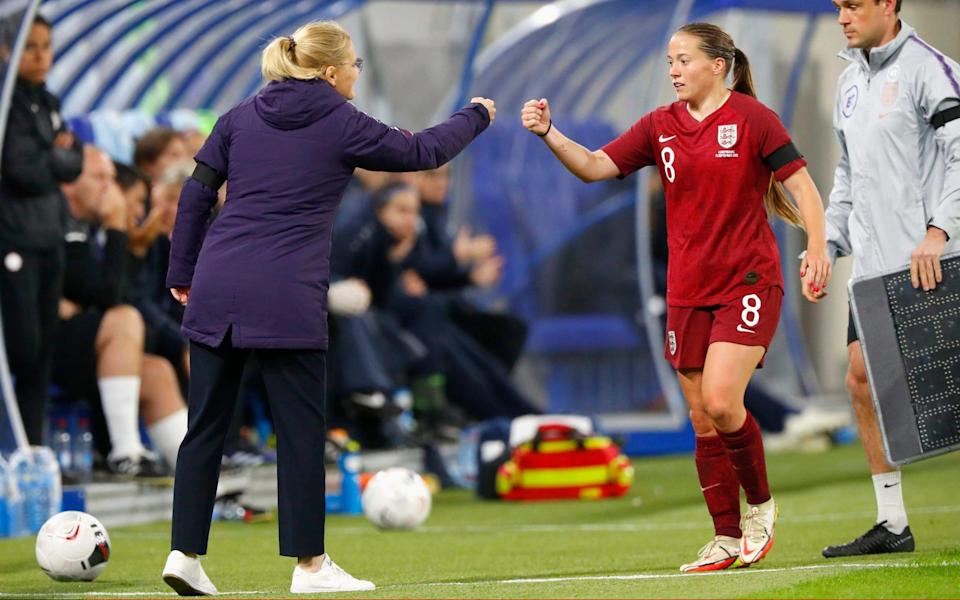 Sarina Wiegman, Head Coach of England interacts with Fran Kirby of England - Getty Images