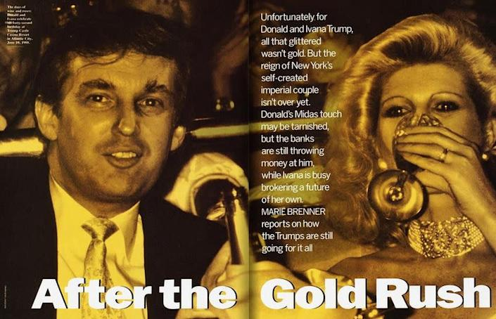 """""""I would never buy Ivana any decent jewels or pictures. Why give her negotiable assets?"""" Trump is quoted as saying of his then-wife in a <a href=""""http://www.vanityfair.com/magazine/2015/07/donald-ivana-trump-divorce-prenup-marie-brenner"""" rel=""""nofollow noopener"""" target=""""_blank"""" data-ylk=""""slk:1990 Vanity Fair piece"""" class=""""link rapid-noclick-resp"""">1990 Vanity Fair piece</a>."""