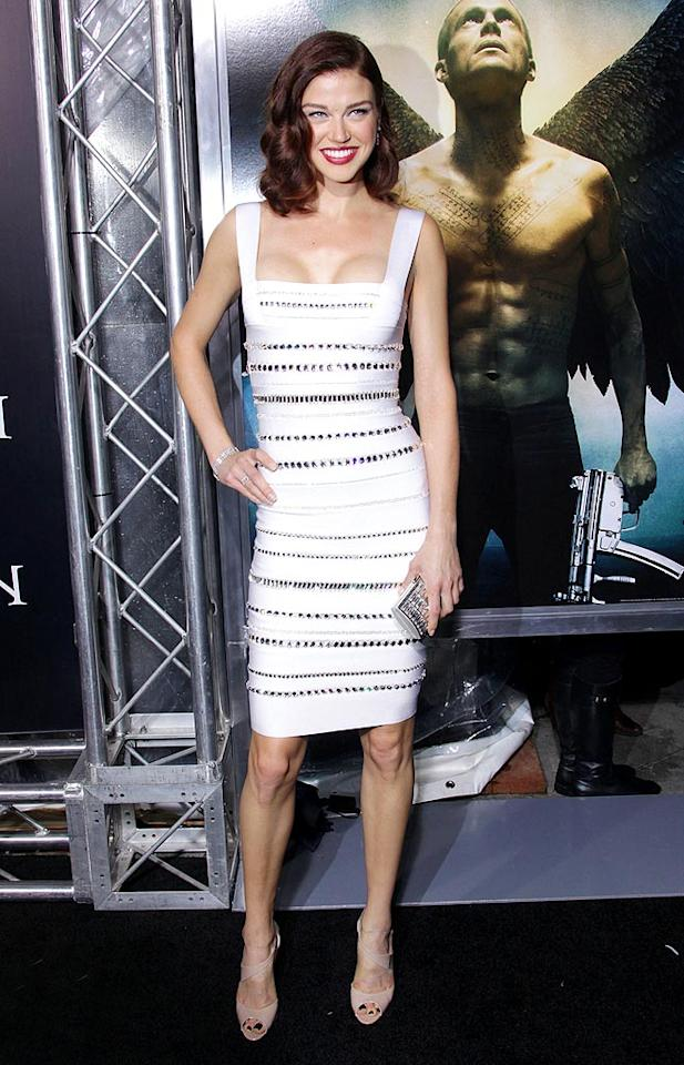 "Back in Los Angeles, former ""Friday Night Lights"" co-star Adrianne Palicki strutted her stuff at the premiere of the sci-fi thriller, ""Legion,"" in a white Herve Leger by Max Azria bandage dress, nude peep-toes, and Martin Katz diamonds. Jen Lowery/<a href=""http://www.splashnewsonline.com"" target=""new"">Splash News</a> - January 21, 2010"