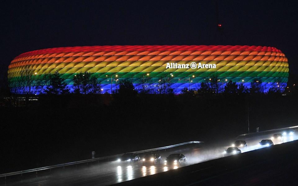 Allianz Arena illuminated in the rainbow colours. - GETTY IMAGES