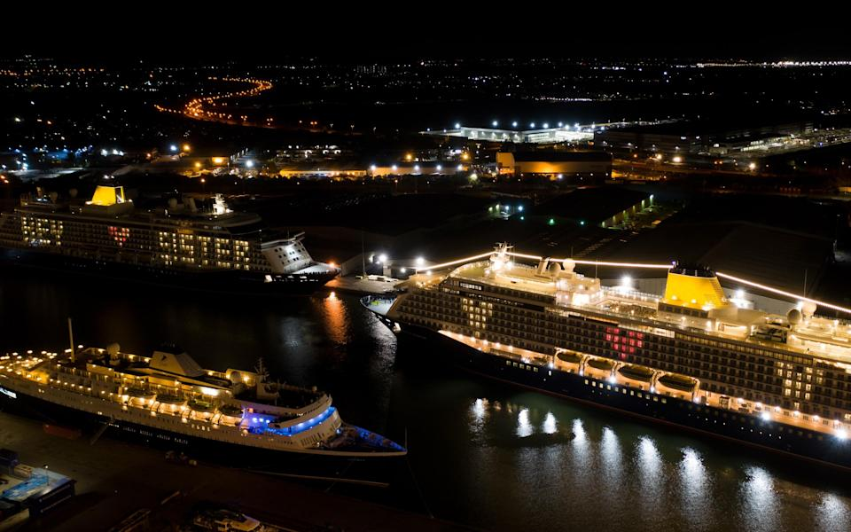 The two sisters are likely to stay berthed at Tilbury in the company of other laid-up ships until cruise holidays fully resume