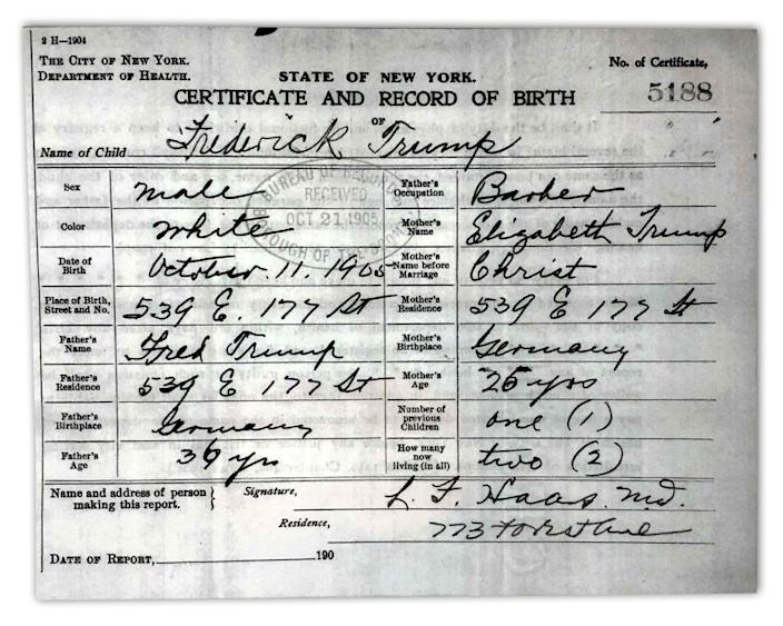 Frederick Trump's birth certificate from the state of New York, borough of the Bronx.