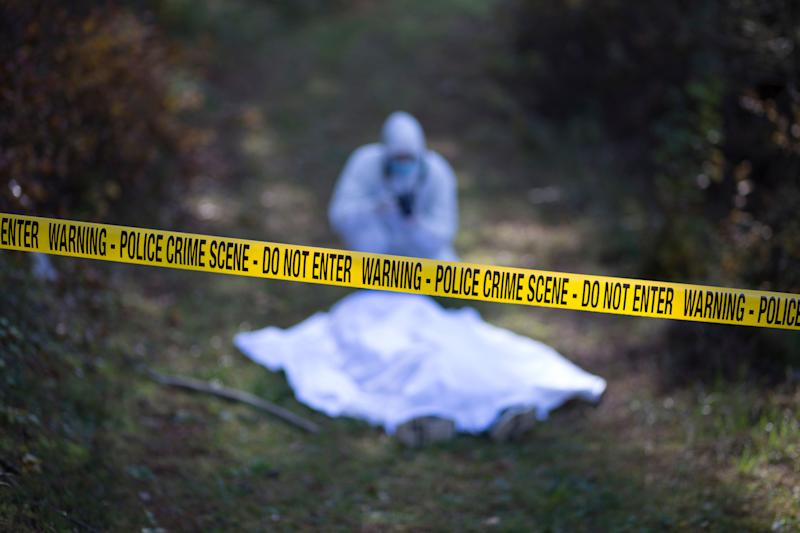 Forensic takes the picture from the crime scene on the road in the woods during a day (Photo: Lazar Cvjetkovic via Getty Images)