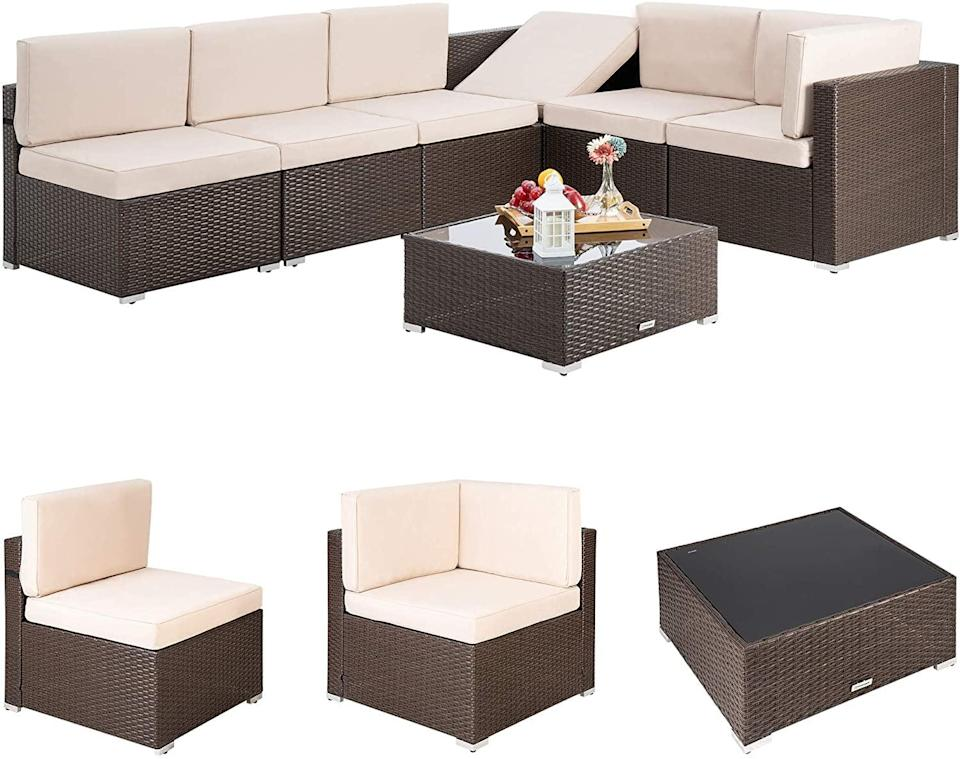 <p>If you're ready to lounge at home, this <span>Pamapic 7 Piece Outdoor Sectional</span> ($720) is where you want to do it.</p>