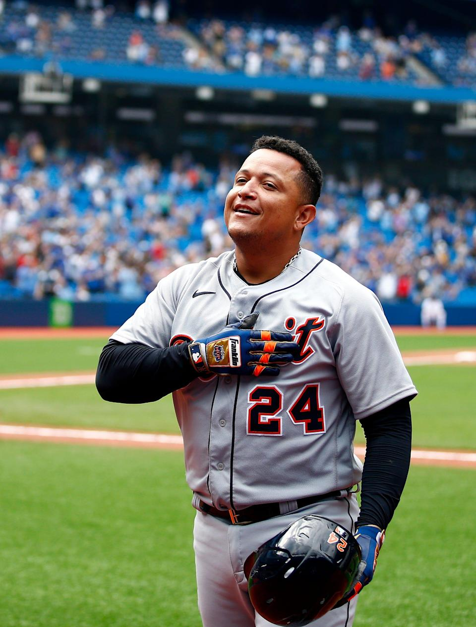 Detroit Tigers hitter Miguel Cabrera celebrates with fans on a curtain call after hitting his 500th career home run in the sixth inning against the Toronto Blue Jays at Rogers Centre on Aug. 22, 2021 in Toronto.