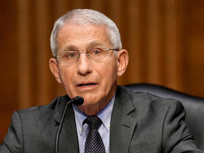 <p>Dr Anthony Fauci, director of the National Institute of Allergy and Infectious Diseases, speaks during a Senate Health, Education, Labor and Pensions Committee</p> (Getty Images)